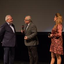 Režisér Martin Kubala, moderátor Jiří Vejvoda a sopranistka Kateřina Kněžíková.